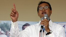 Sam Rainsy speaks during a campaign rally in Kandal province, Cambodia in 2008.