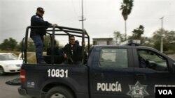 Polisi federal Meksiko melakukan patroli di Reynosa, dekat perbatasan dengan negara bagian Texas, AS (dokumentasi).