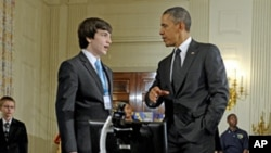 President Barack Obama during the White House Science Fair, Feb 7, 2012.