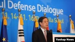 지난해 11월 서울에서 열린 '제1회 서울안보대화(SDD)' 개회식에서 한국 국무 총리가 치사를 하고 있다.