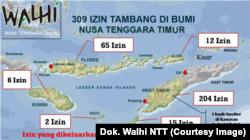 Peta sebaran ijin pertambangna di NTT (dok. Walhi NTT)