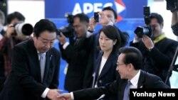 APEC 정상회의에 참석해 노다 요시히코 일본 총리와 악수를 나누는 이명박(우측) 한국 대통령
