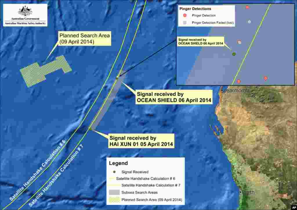 Đồ họa cho thấy các khu vực tìm kiếm hiện nay, ngày 9/4/2014.