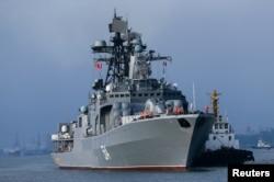 Tàu chiến của Nga trong cuộc tập trận hải quân chung Trung-Nga ở Trạm Giang, Trung Quốc, ngày 12 tháng 9 năm 2016.