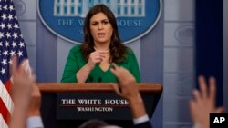 White House press secretary Sarah Sanders speaks during the daily press briefing, Oct. 27, 2017, in Washington.