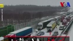 تصادف ۱۸ ماشین در اتوبان برفی در لهستان