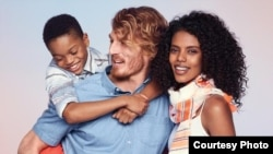 Actors portray a biracial family in an ad for the Old Navy clothing retailer. (Courtesy Old Navy)