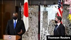 El secretario de Estado Antony Blinken y el secretario de Defensa, Lloyd Austin, realizan una visita a Asia, en Japón, el 16 de marzo de 2021.