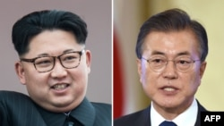 FILE - This combo of file photos shows a picture taken on May 10, 2016, of North Korean leader Kim Jong Un, left, and a picture taken on Aug. 17, 2017, of South Korea's President Moon Jae-In.