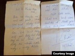 Thư của nhà văn Nguyễn Khải gửi nhà văn Võ Phiến