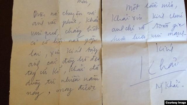 Thư và đồng hồ Nguyễn Khải gửi tặng Võ Phiến.