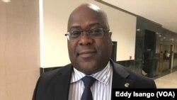 Félix Tshisekedi, président du Rassemblement de l'opposition congolaise (Rassop) lors d'une interview à la VOA Afrique, à Washington, 23 août 2017. (VOA/Eddy Isango)