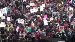"""La """"Marcha por la vida"""" y la """"Marcha por las mujeres""""."""