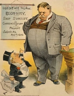 "A cartoon in the magazine ""Judge"" urging President Taft to have his own policies and not follow those of President Roosevelt who served before him"