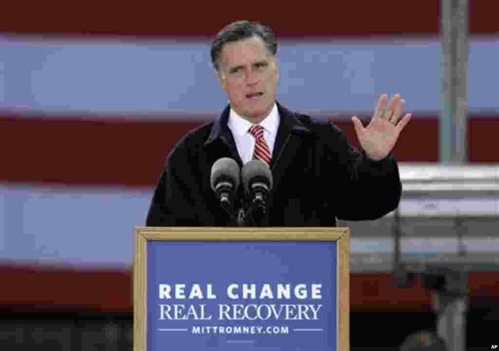 Le candidat républicain Mitt Romney s'adressant à une foule à Ames, dans l'Etat de l'Iowa
