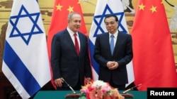 중국을 방문한 베냐민 네타냐후 이스라엘 총리가 20일 베이징 인민대회당에서 리커창 중국 총리와 만났다.