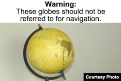 The person who pointed out the warning label on this decorative globe won the $1,000 grand prize for this year's Wacky Warning Labels contest. (Courtesy Center for America)