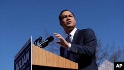 Former San Antonio Mayor and Housing and Urban Development Secretary Julian Castro speaks during an event where he announced his decision to seek the 2020 Democratic presidential nomination, Jan. 12, 2019, San Antonio, TX.