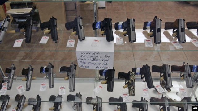 Handguns are on display at B & J Guns in Colonie, New York, June 26, 2008.