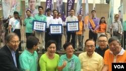 香港民主動力區選前催票活動以港中足球賽「守住香港」為口號。(香港民主動力圖片)