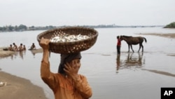 Chea Sophorn, 39, carries a fish basket at the Mekong River bank in Kandal province, Cambodia, April 19, 2011.
