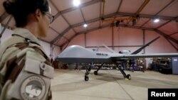 Un drone Block 1 MQ-9 Reaper à Niamey, Niger, le 21 octobre 2017.