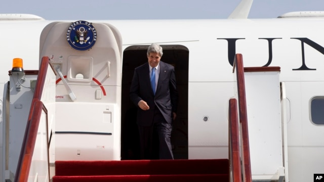 U.S. Secretary of State John Kerry arrives in Doha, Qatar, June 22, 2013.