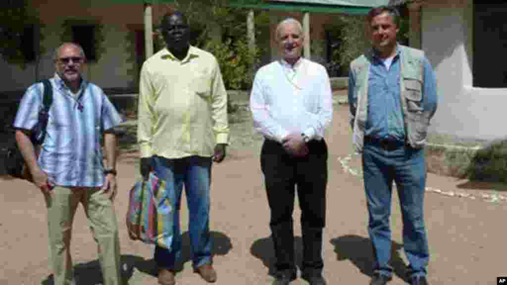 Vicenza Bishop Beniamino Pizziol, second from right, flanked by father Gianantonio Alllegri, left, and Giampaolo Marta, right, during a visit in Jericho, near Maroua, Cameroon.