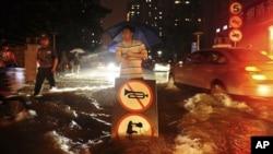 폭우로 인해 물에잠긴 중국 베이징의 도로