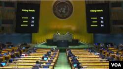 تصویری از رایگیری کمیته سوم مجمع عمومی این سازمان وضعیت حقوق بشر در ایران