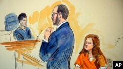 This courtroom sketch depicts Maria Butina, a 29-year-old gun-rights activist suspected of being a covert Russian agent, listening to Assistant U.S. Attorney Erik Kenerson as he speaks to Judge Deborah Robinson, left.
