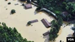 Toma aérea de una de las regiones inundadas en Nova Friburgo, Brasil.