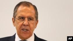 2일 세르게이 라브로프 러시아 외무장관이 아랍에미레이트 아부다비를 방문해 기자회견을 하고 있다. (자료사진)