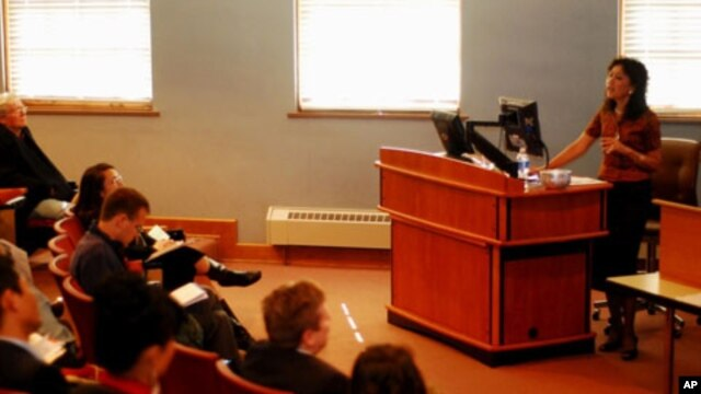 Dr. Chhany Sak-Humphry, a Cambodian language professor, talks about Khmer language teaching in Hawaii during the 3rd Annual Khmer Studies Forum at Ohio University on Friday, April 29, 2011. She is among the more than one hundred participants who have gath