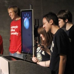 Students compete against IBM's Watson at Carnegie Mellon University in Pittsburgh, Pennsylvania, earlier this year