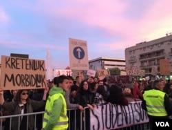 Peti protest protiv vlasti crnogorskog predsednika Mila Đukanovića u Podgorici, Crna Gora, 16. marta 2019.