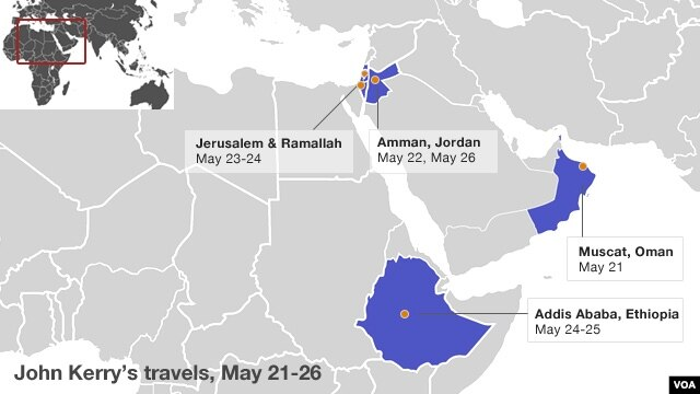 Secretary of State John Kerry travels to the following countries, May 21-26.