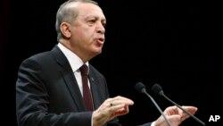 Turkey's President Recep Tayyip Erdogan addresses a meeting in Ankara, Turkey, Jan. 17, 2017.