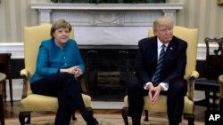 رئیس جمهور ترمپ و خانم مرکل در قصر سفید