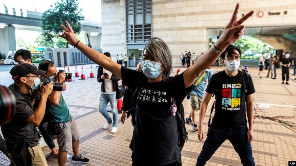资料照:香港民主派活动人士梁国雄 (2020年10月15日)