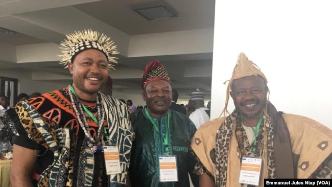 Les chefs traditionnels invités aux échanges pour défendre le droit coutumier sur les terres locales, le 23 janvier 2019. (VOA/Emmanuel Jules Ntap)