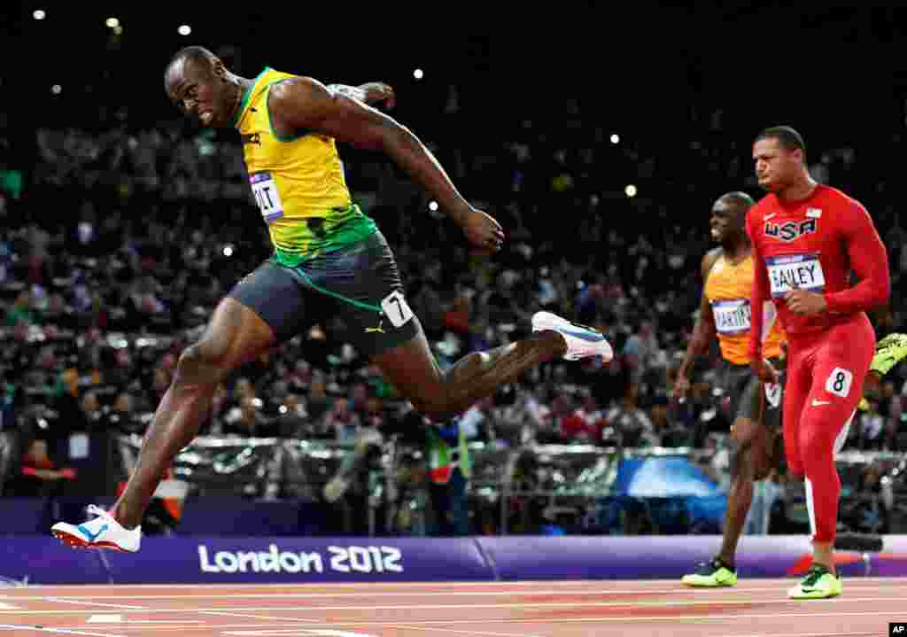 August 5: Jamaica's Usain Bolt crosses the finish line to win gold in the men's 100-meter final during the 2012 Summer Olympics in London.
