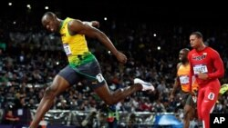 August 5, 2012: Jamaica's Usain Bolt crosses the finish line to win gold in the men's 100-meter final during the 2012 Summer Olympics in London.