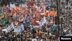 Prizor sa današnjih masovnih demonstracija pristalica opozicije u Moskvi