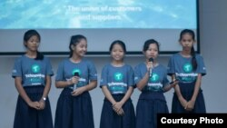 The Five Infinities, winner of the junior division for Technovation Cambodia 2018, pitched their business ideas on stage at the Institute of Technology of Cambodia, May 20, 2018. (Courtesy of Technovation Cambodia)
