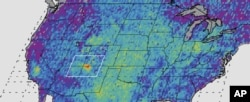 FILE - This undated handout image provided by NASA/JPL-Caltech/University of Michigan, shows the Four Corners area, in red, left, the major U.S. hot spot for methane emissions in this digital map, showing how much emissions varied from average background concentrations from 2003-2009. Dark colors are lower than average; lighter colors are higher.