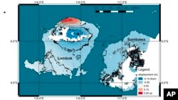 This graphic made available by NASA shows a map of new satellite data produced by scientists with NASA/Caltech's Advanced Rapid Imaging and Analysis project (ARIA) showing ground deformation on the resort island of Lombok, Indonesia, following a deadly ea