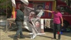 南韓民眾川金會前抗議 指金正恩假和平真獨裁