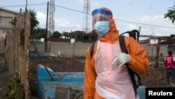 FILE - A health worker prepares to disinfect a van used for burial purposes in Freetown, Sierra Leone, Nov. 10, 2014.