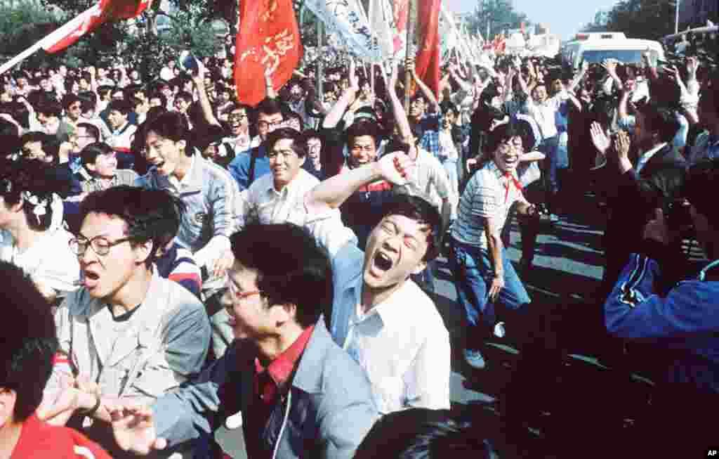 1989년 중국 베이징 텐안먼 광장에서 열린 민주화 시위.
